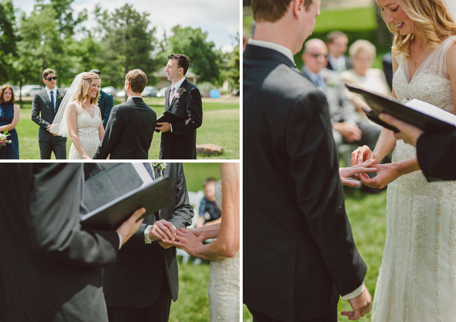 chautauqua bride and groom exchange rings on the lawn at chautauqua