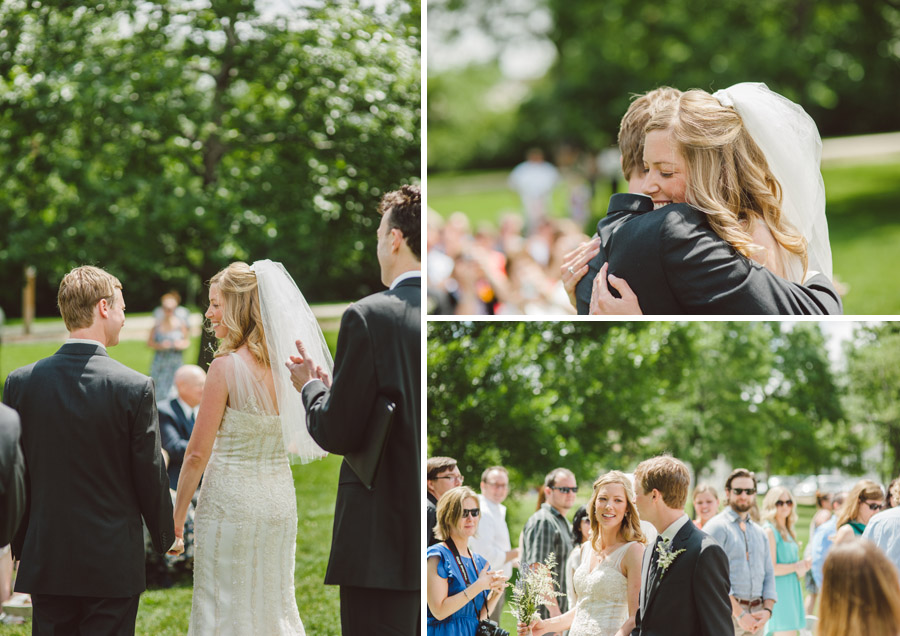 newly married couple enjoy first embrace during wedding ceremony at chautauqua