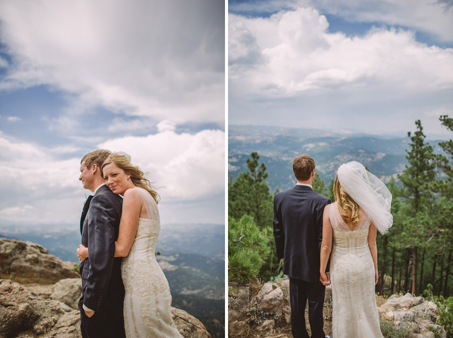 bride and groom pose for first portraits at scenic overlook in boulder