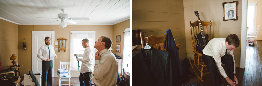 groom getting ready in cabin prior to wedding at colorado chautauqua