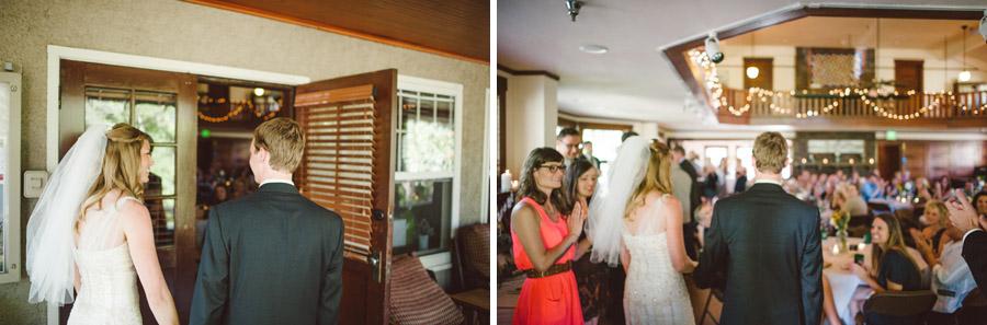 bride and grooms grand reception entrance at colorado chautauqua