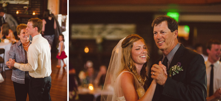 bride and groom dance with their parents at chautauqua