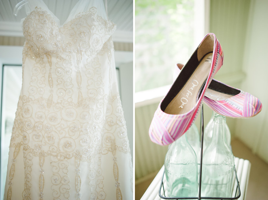 brides dress and shoes as she gets ready for chautauqua wedding