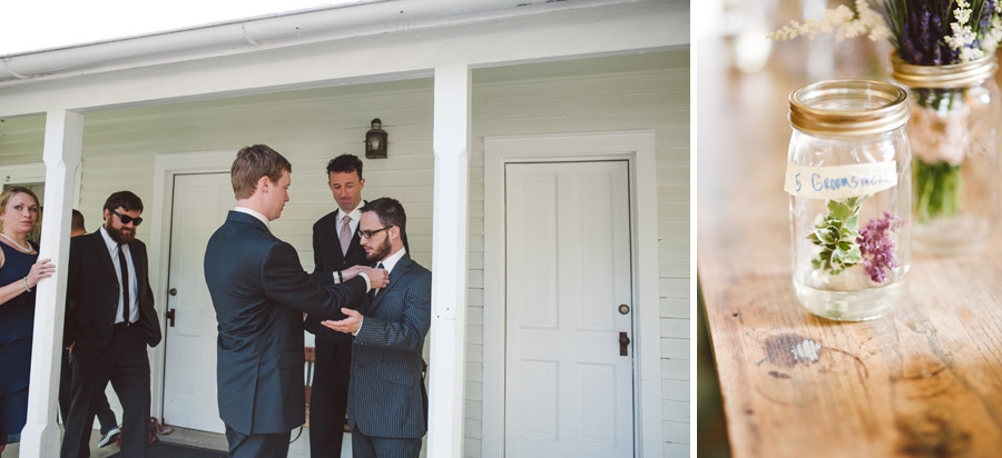 groomsmen getting ready in a vintage cabin at chautauqua