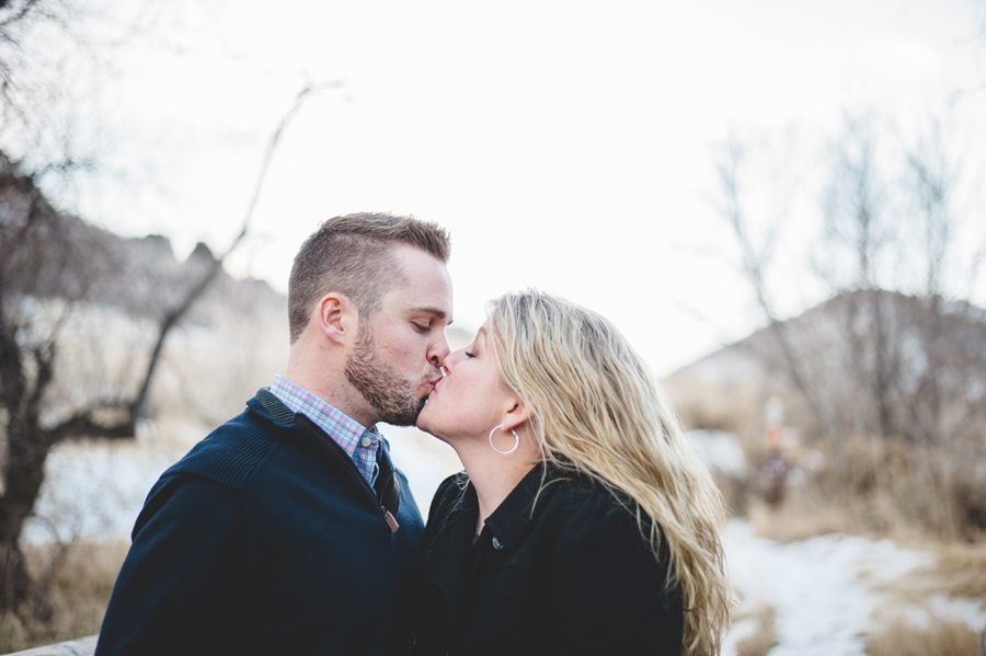 couple kissing in mathews/winters park colorado