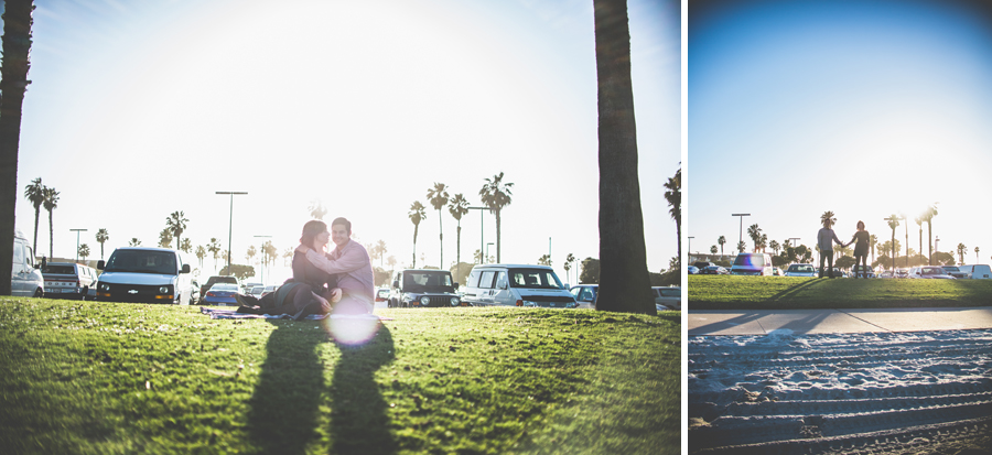 couple poses for engagement photography at mission bay, dan hand photography