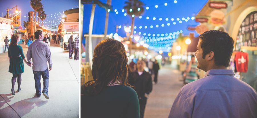 engagement photos under the lights of belmont park, dan hand photography