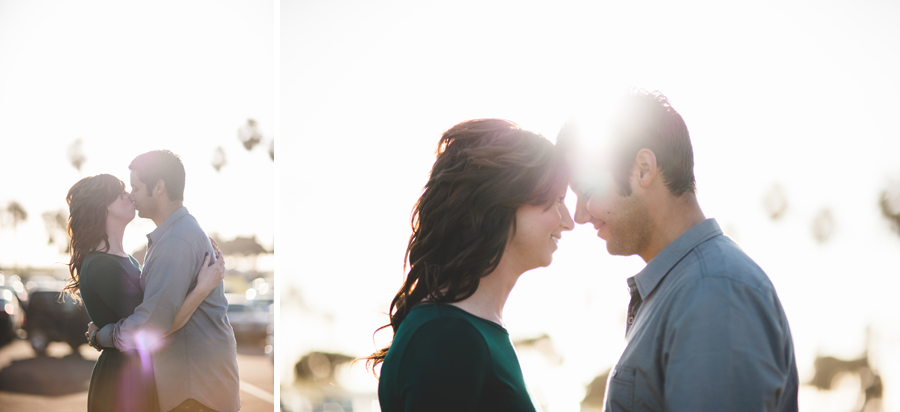 engaged couple poses for backlight portraits, denver wedding photographer dan hand