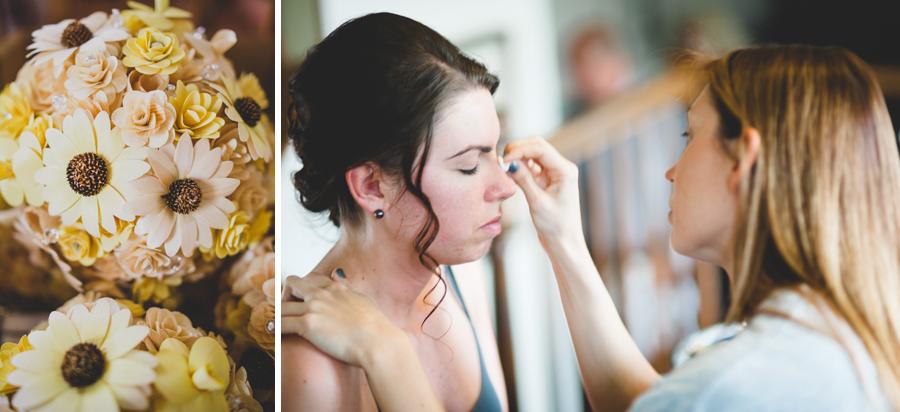 bride having makeup done before wedding at Space Gallery in Denver