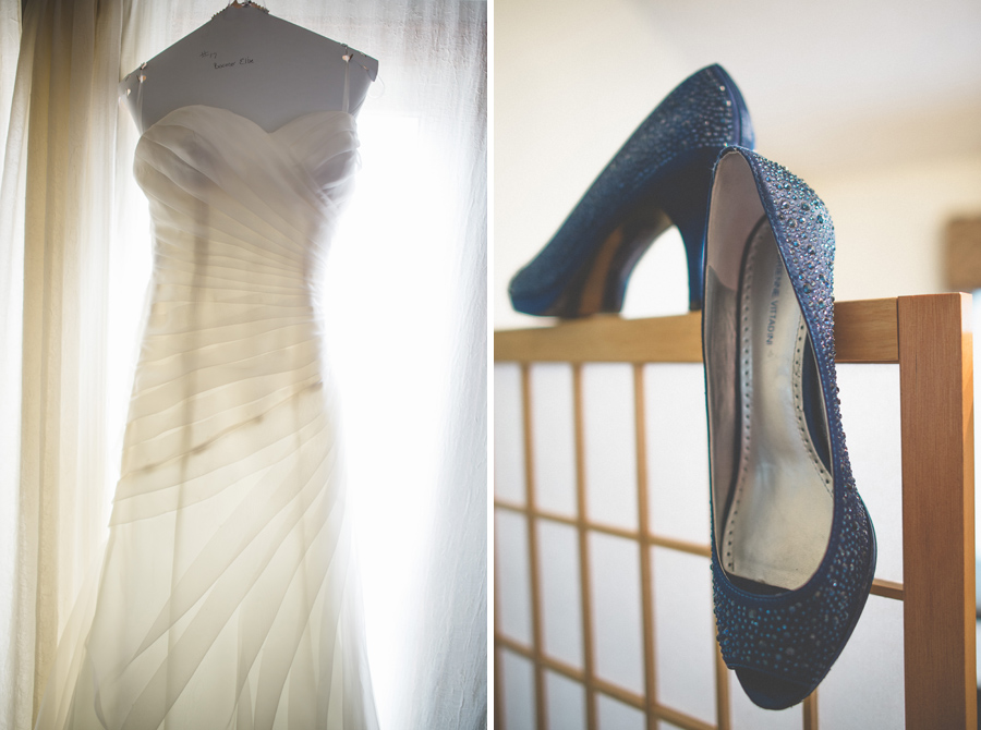 brides shoes and wedding dress waiting to be put on