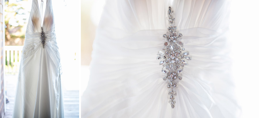 Brides Dress details before Oregon Coast Wedding