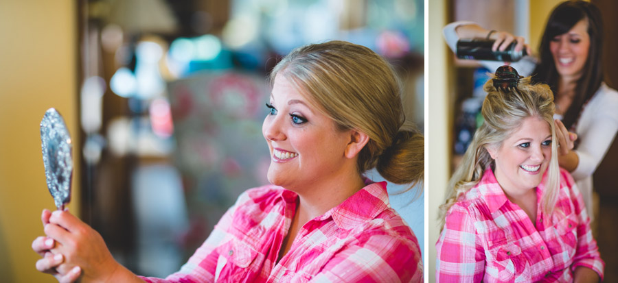 Bride getting ready for Arch Cape oregon wedding
