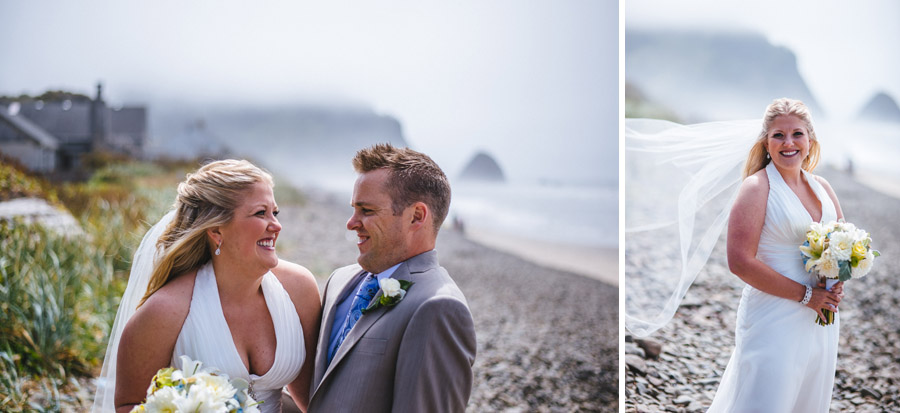 bride and groom laughing overlooking oregon coast