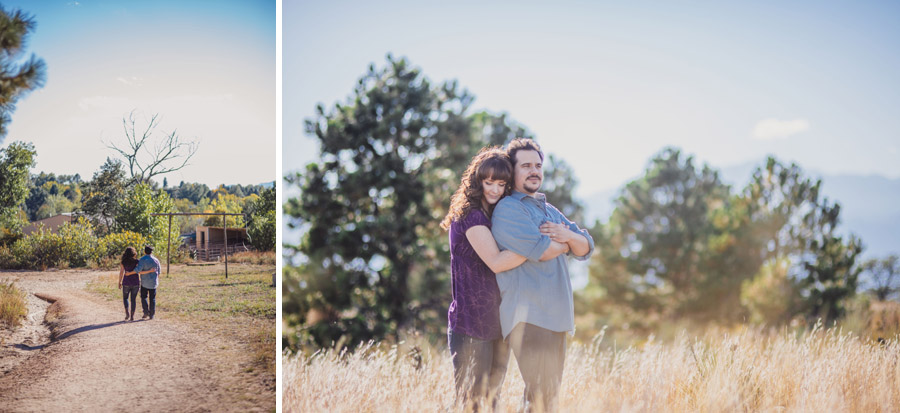 Anniversary photos in a golden field overlooking the mountains in colorado springs by Denver Wedding Photographer Dan Hand