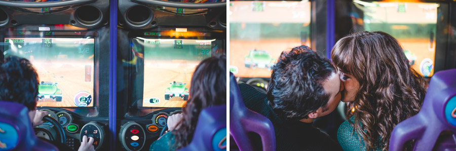 couple playing video games during anniversary photos in manitou springs