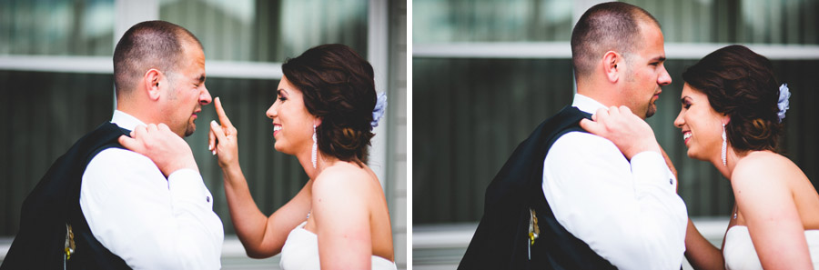 laughing bride touches grooms nose