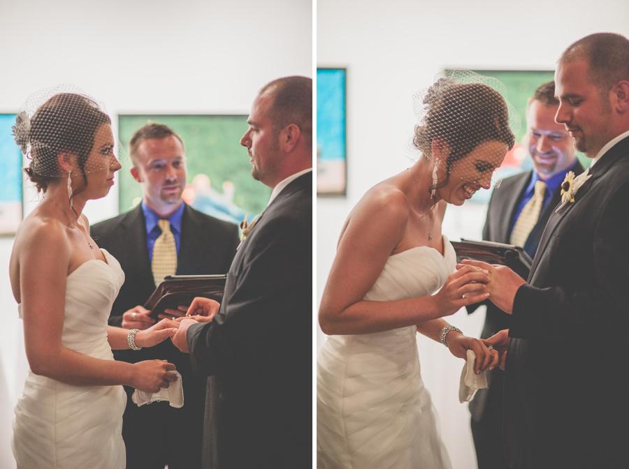 bride and groom exchange wedding rings at the Space Gallery in Denver