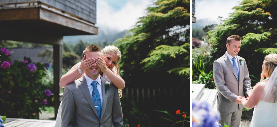 bride surprises groom during first look