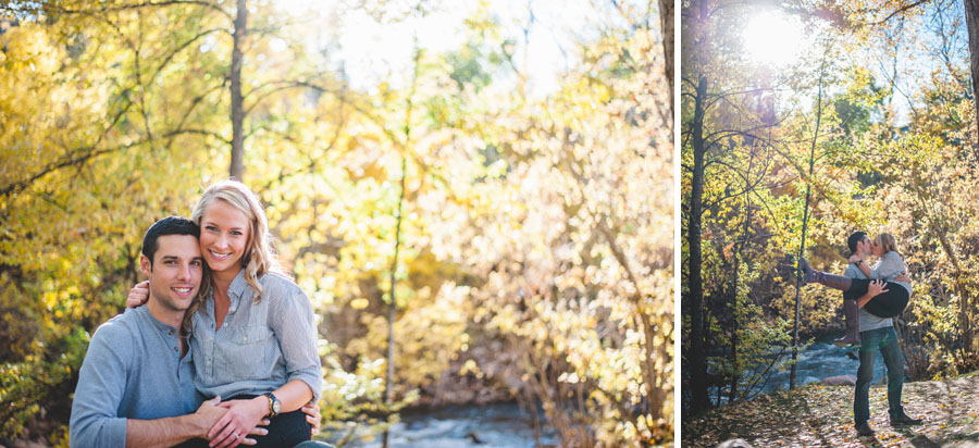Fall color engagement session in Morrison Colorado
