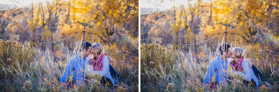 couple poses for engagement photos in the colorado foothills