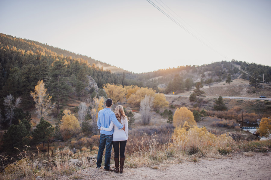 engagement photo overlooking evergreen, colorado