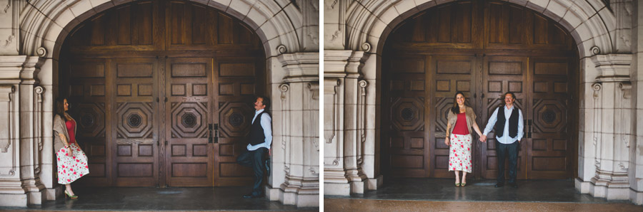 couple posing in the doorway of the museum of photographic arts in balboa park