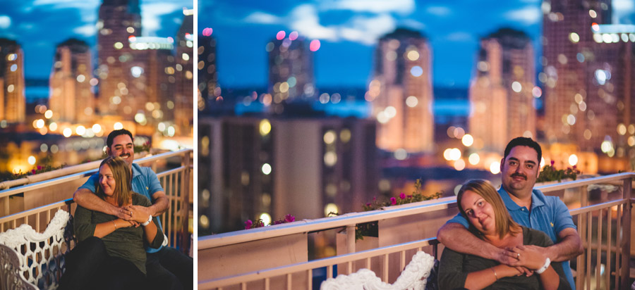 engagement photos on a rooftop with gorgeous san diego skyline in background