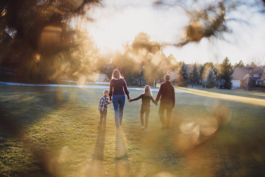Family walking through Silo park in greenwood village colorado