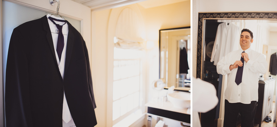 groom gets ready for wedding at US Grant Hotel in San Diego