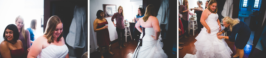 bride gets ready in Saint Francis Chapel