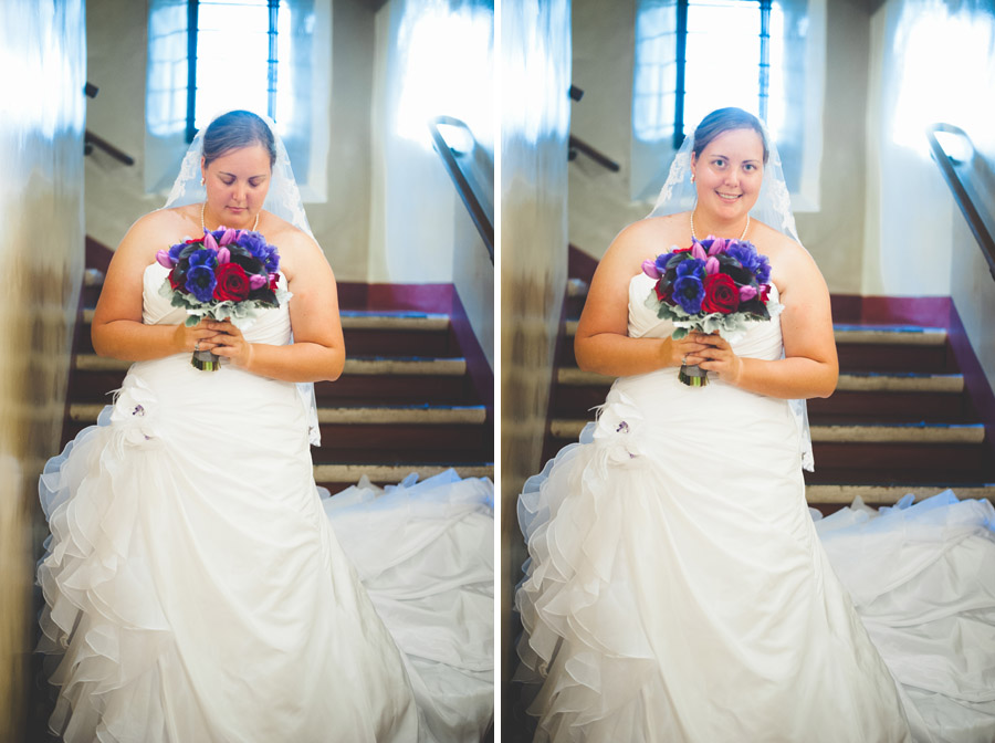 Bridal portraits in the Saint Francis Chapel at the Museum of Man