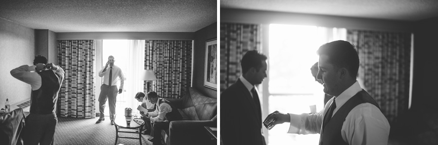 Groom prepares for wedding at the Double Tree in the Denver Tech Center