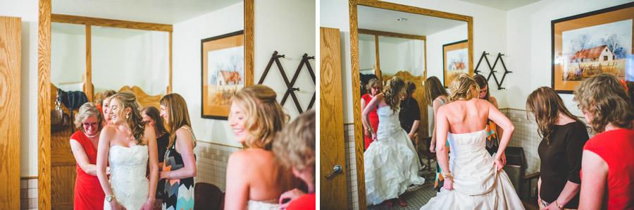 bride getting dress at the d-barn in longmont
