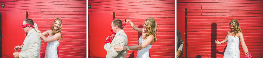 groom see's bride for the first time at the d-barn in longmont