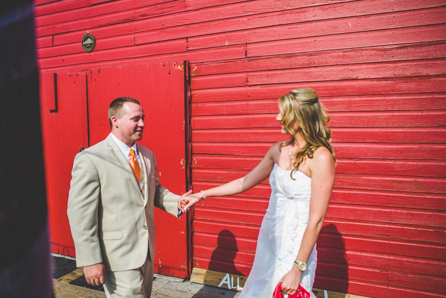groom's first look of bride