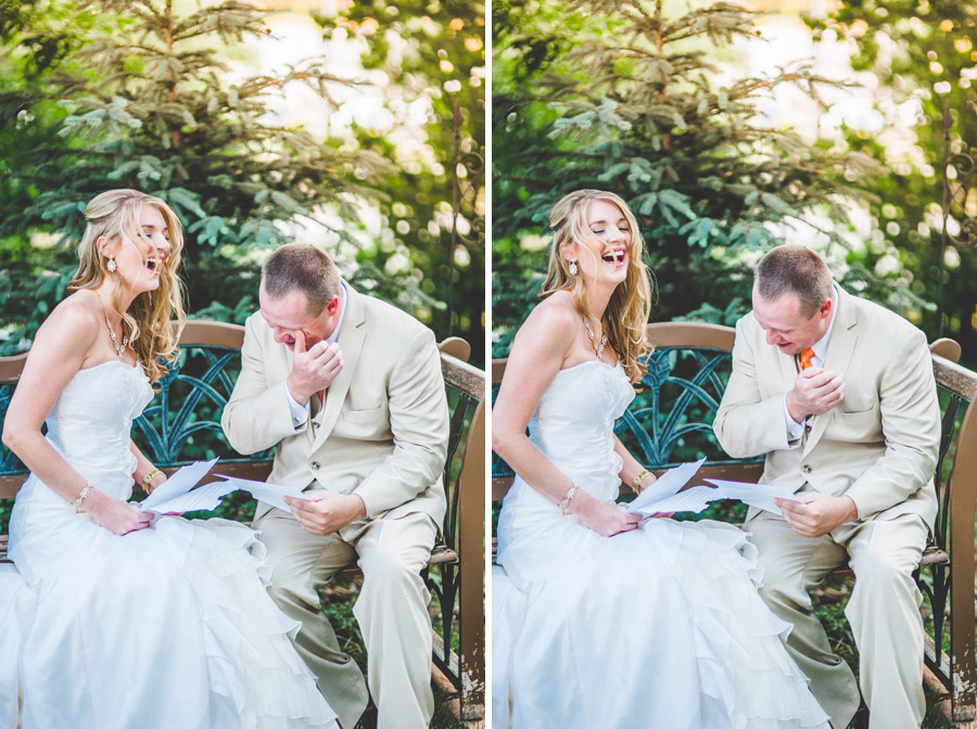 bride laughing while groom cries during vows