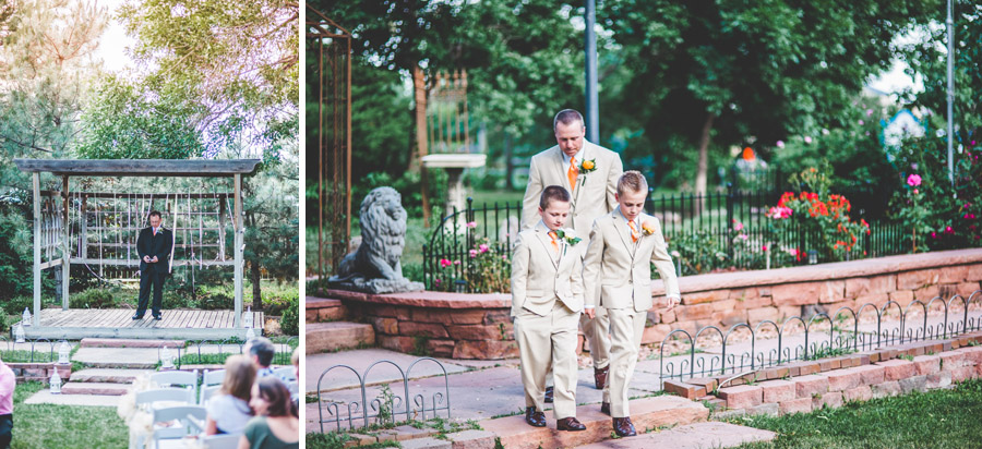 groom and groomsman walk down the aisle at d-barn in longmont