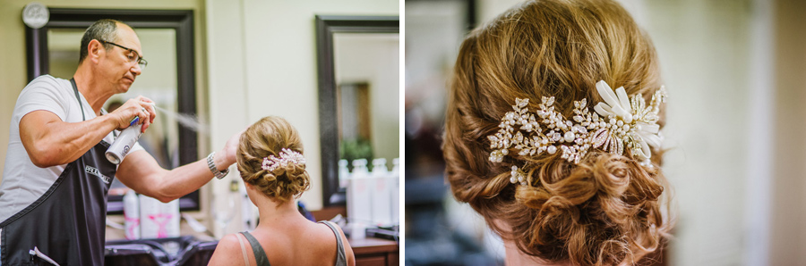 Brides hair details at Laurel Salon of Distinction before Wedding in Longmont Colorado