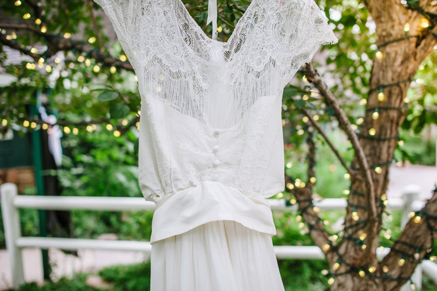 Vintage Wedding Dress hanging on tree, Boulder Colorado