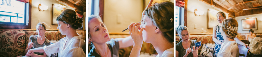 Bride having makeup done in the Greenbrier Inn in Boulder Colorado before her wedding in Ryssby Church in Longmont