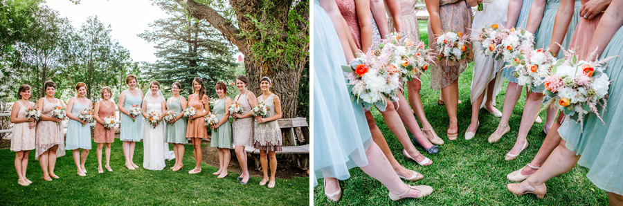 bridal party dresses and shoes in boulder colorado