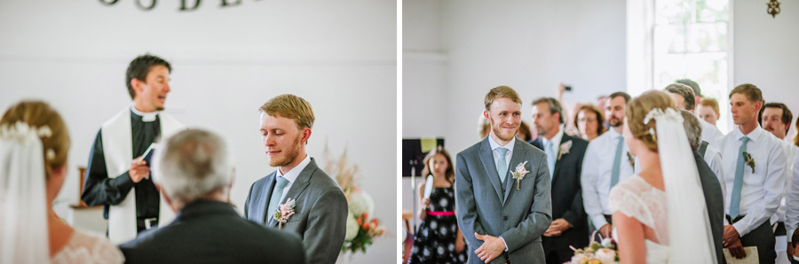 Groom reacting to bride walking down the aisle
