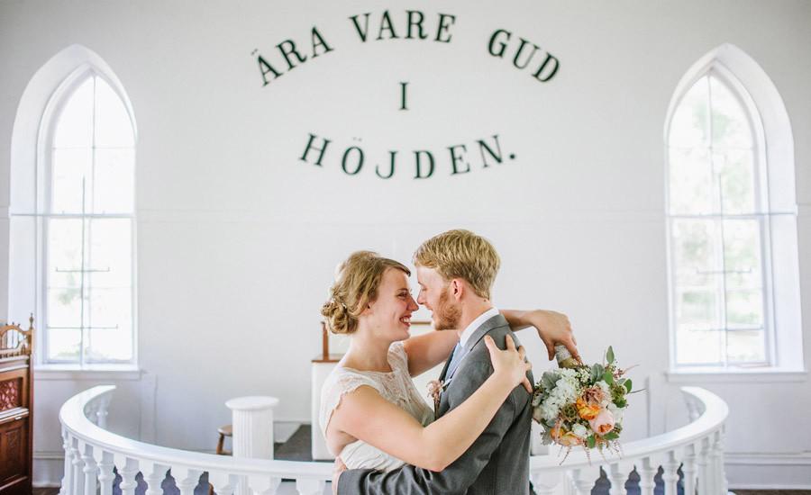 ryssby church wedding portrait