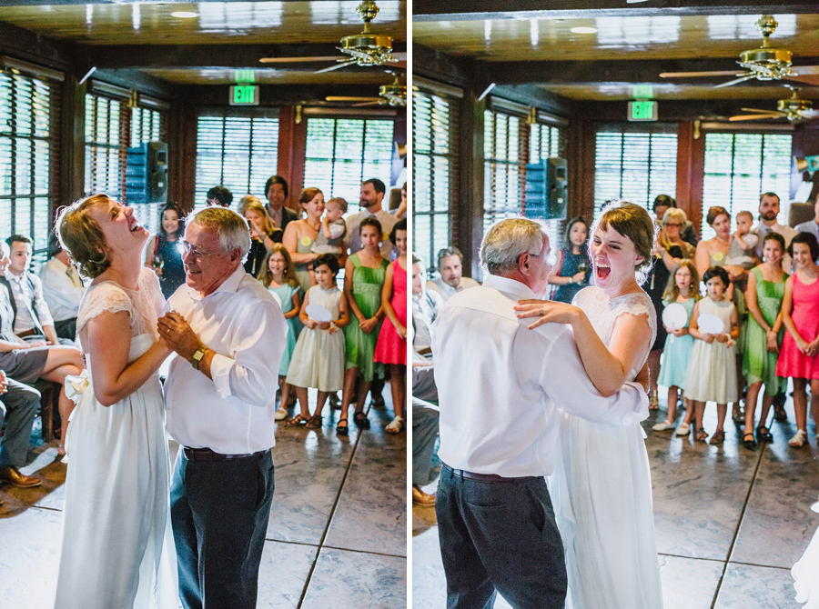 bride and father laughing during dance at wedding reception