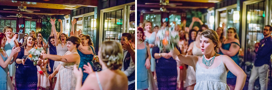 bride tossing boquet at the greenbrief inn