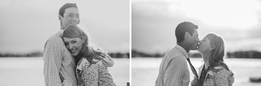 winter engagement photo in black and white