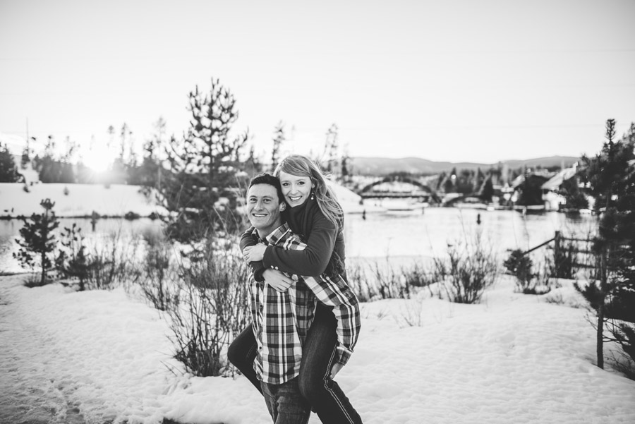 Black and White engagement photo in the snow near grand lake colorado