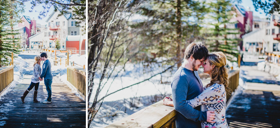 winter time engagement photos in keystone