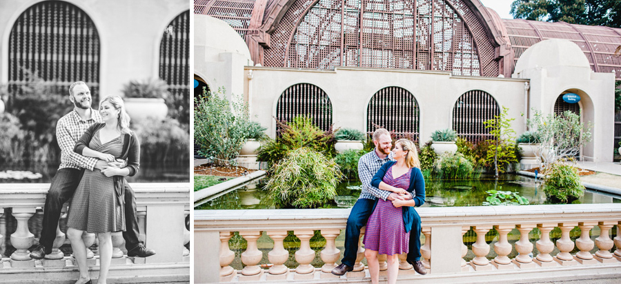 Engagement photos near the reflecting pool at balboa park