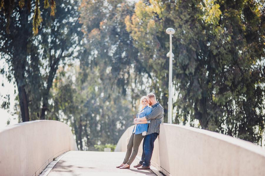 Engagement photo on the footbridge at balboa park
